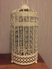2 x  NEW Birdcage Table Lamp Light Cream with Clear Jewels Shabby Chic Style