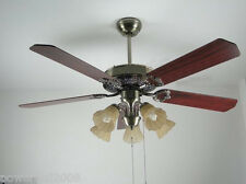1010 Green Bronze 52 Inches 5 Lights D132 CM Rope Control Ceiling Fans Light
