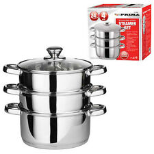 24CM 4PC STEAMER COOKER POT SET PAN COOK FOOD GLASS LIDS 3 TIER STAINLESS STEEL