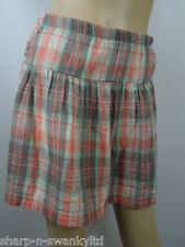 ☆ ANIMAL Ladies Pink/Aqua Checked 100% Cotton Short Skirt UK 10 EU 38 ☆