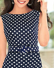 Ladies navy polka dots evening party day dress size 12