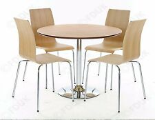 Soho 4 Seater Dining Oak + Chrome Round Table + 4x Matching Chairs! 5 Piece Set