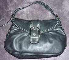 Dune Black Medium Leather Shoulder Clutch Bag Buckle Front Contrast Stitch