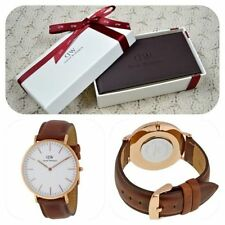 *NEW* Daniel Wellington 'St Mawes' 0106DW Classic Mens Watch Brown Leather