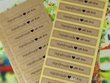 48 X Sticker Stickers 'Hand made with love' Wedding favours Kraft Craft Labels *