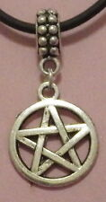 New Antique Silver Wiccan Pentagram Pendant on a Rubber Necklace