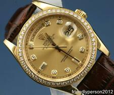 Rolex Day-Date 18K Solid Yellow Gold 118348 Double Q.S. President Diamond Bezel