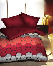 2 tlg. Kaeppel Mako Satin Bettwäsche 80x80cm+135x200cm Kreise rot  #396/662