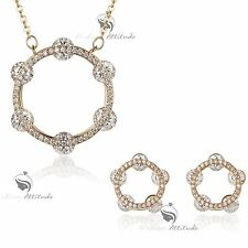 18k yellow gold gf genuine SWAROVSKI crystal round circle earrings necklace set