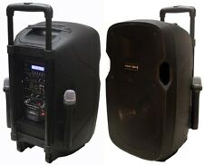 "160W 12"" PA System Active Address Speaker,2 Wireless Mic.Bluetooth,USB,Guitar In"