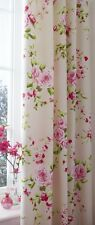 "66"" by 72"" Cream/Natural Canterbury Floral Print Lined Curtains Pencil Pleat"