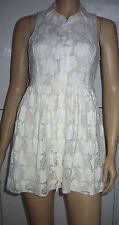New MISO Cream White Sleeveless Collared Lined Mini Summer Party Dress Size 10