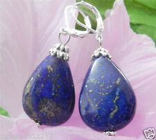 Fashion Natural Blue Lapis Lazuli Beads Leverback Sterling silver Drop Earrings