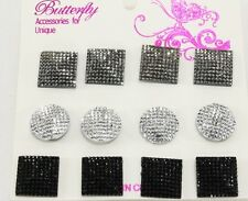 Disco glitter posts squares circles 6pr plastic post earrings black silver a