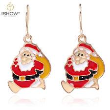 For Women Christmas Day Gift Enamel Santa Claus Dangle Hook Earrings Ear Jewelry