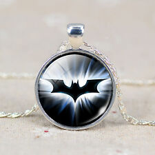 New Fashion Bat Batman Silver Plated Glass Necklace & Chain Pendant Halloween