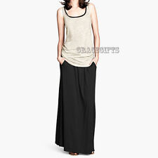 Ladies Black Maxi Long Skirt Boho Gypsy Jersey Casual Holiday Plain Dress S 8/10