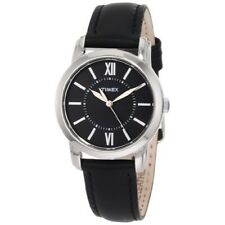 Timex Women's Elevated Classics Dress Uptown Chic Black Leather Watch T2N681