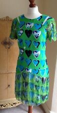 Authentic Versace For H&M Green Fringe Blue Hearts Dress FR38 UK10 NWT Stunning!
