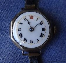 Antique 1910s 925 Sterling Silver Ladies Wrist Watch, Hinged Case, Enamel Dial