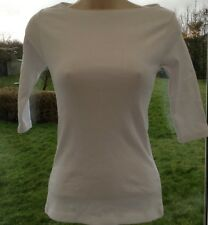 New ASOS Skinny Fit Ribbed 3/4 Sleeve Cotton Tee Top White UK 10 Casual Stretch
