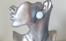 Big & fab Pastel blue 100% plastic CLIP ON round shape stud earrings NEW