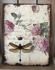 Metal Wall Plaque French Shabby Vintage Chic Dragonfly Rose Tin Sign Xmas Gift