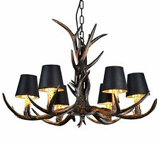 Antler Vintage Chandelier Deer Horn Resin 6 Lights Retro Style Lights Rural Lamp