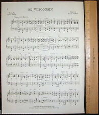 "UNIVERSITY OF WISCONSIN Vintage Song '45 ""On Wisconsin"""