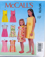 ©2015 MCCALL'S SEWING PATTERN 7078 GIRLS 7-14 DRESSES W/ PLEATED OR A-LINESKIRT