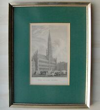 Hotel de Villes Brussels, Stahlstich Woolnoth 1825 by Robert Jennings im Rahmen