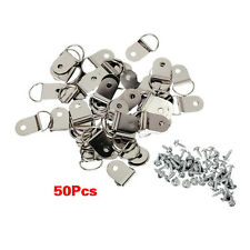 50 Pcs Medium D-Ring Picture Frame Strap Hangers with Screws ED