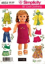 "Simplicity Pattern 4654 Doll Clothes One Size for 18"" (45.5cm) Doll New"