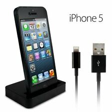 Charging Dock Docking Station & Data Charger Cable For iPhone 5 5S 5C 6 - BLACK
