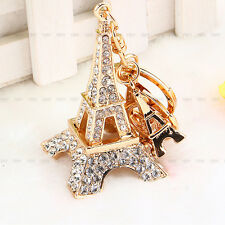 Cute Tower Rhinestone Keyring Charm Pendant Purse Bag Key Ring Chain Keychain