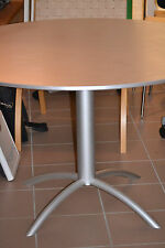 Tisch rund mit Platte grau/silber