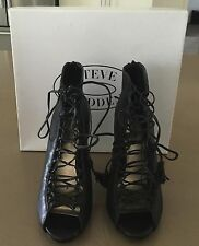 "Pre-owned STEVE MADDEN ""Rebecka"" Stiletto Lace Up Black Shoes Size 9.5"