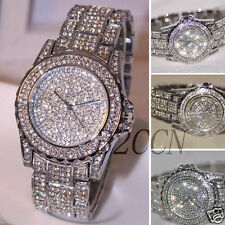 Luxury Women's Crystal Silver Stainless Steel Analog Quartz Bracelet Wrist Watch