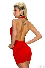 Sexy,red,halterneck,ruched,open back,bodycon mini dress.Size 10