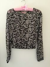 Supre Sheer Black & White Floral Long Sleeve Cropped Top