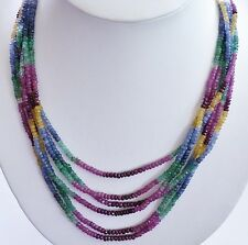 GENUINE! 91.4gr Ruby, Emerald, Sapphire, Pearl Beaded Necklace S/Silver 925!