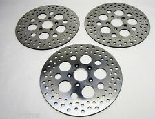 """Harley Brake Disc Rotors 11.5"""" Satin Vented Stainless Steel ( 2 Front, 1 Rear )"""