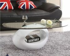 Contemporary Modern Designer High Gloss Glass Coffee Table in White CO7