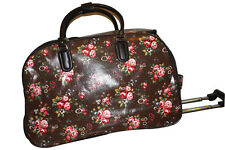 Designer Inspired OilCloth Rose brown  Cabin Trolley hand luggage Overnight Bag