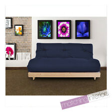 Navy Budget Triple Futon Cotton Mattress 3 Seater Sofabed Sofa Guest Day Bed