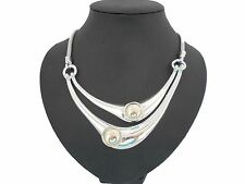 Stunning Unusual Chunky Silver & Gold Double Torque Collar Statement Necklace