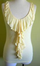 Ladies Womens Sleeveless Tank Top Cami Blouse Lemon Ruffle Front Temt Size M 10