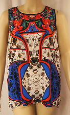 Rockmans White Multi Floral Print Sleeveless Viscose Tunic Top Size 20 BNWT #B60