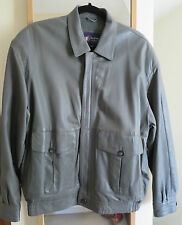 """AUSTIN REED MEN'S LEATHER JACKET SIZE LARGE CHEST 40"""" GREY FULLY LINED ZIP FRONT"""