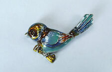 BEAUTIFUL SILVER PLATED AND ENAMELLED BLUE WREN BROOCH